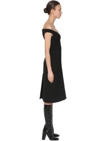 PRADA Natté Wool Gabardine Midi Dress