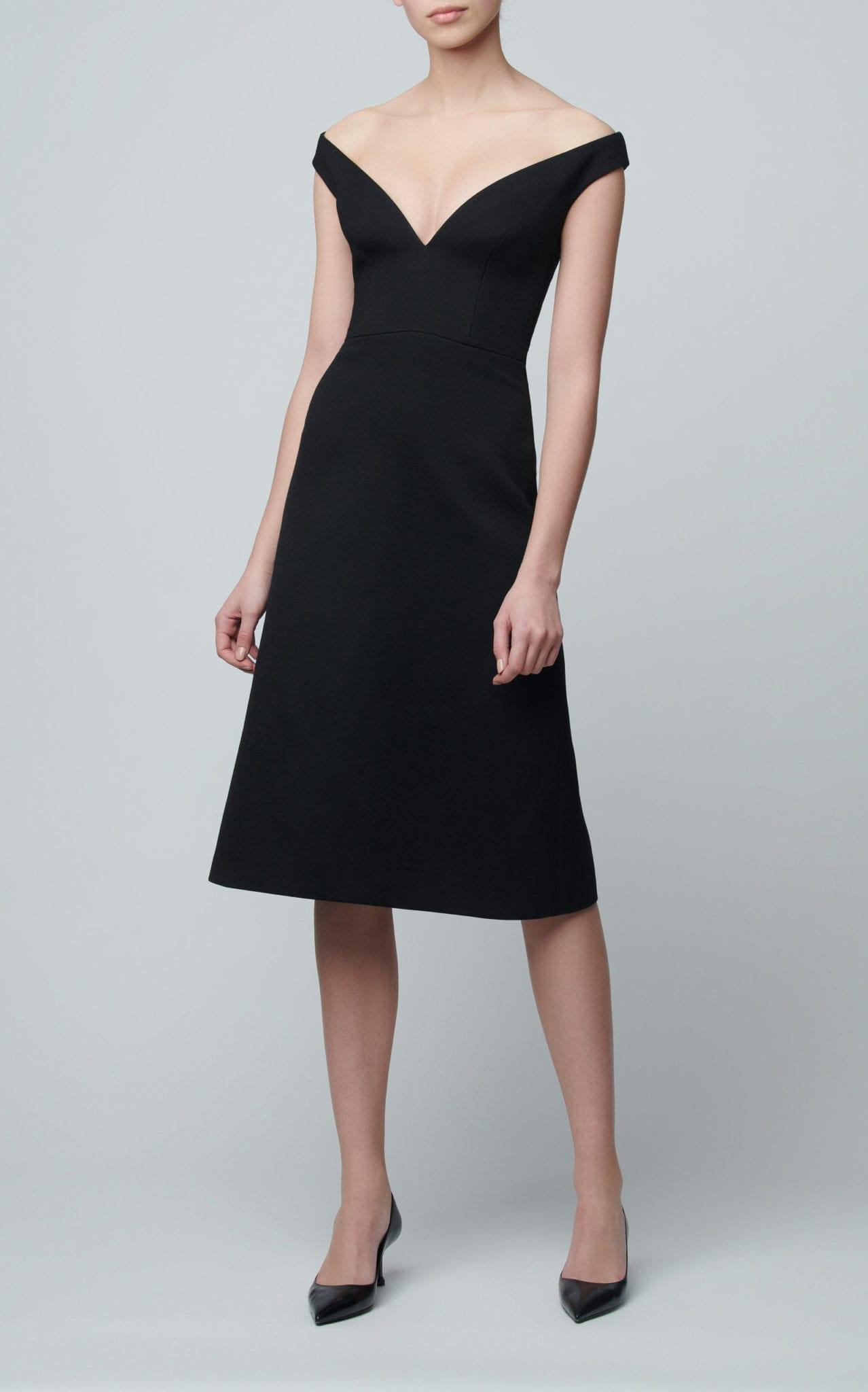 PRADA Off-The-Shoulder Gabardine Midi Black Dress