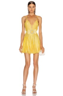 RAISA&VANESSA Strass Embellished V Neck Mini Dress