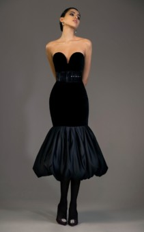 RASARIO Velvet And Satin Flared Midi Black Dress