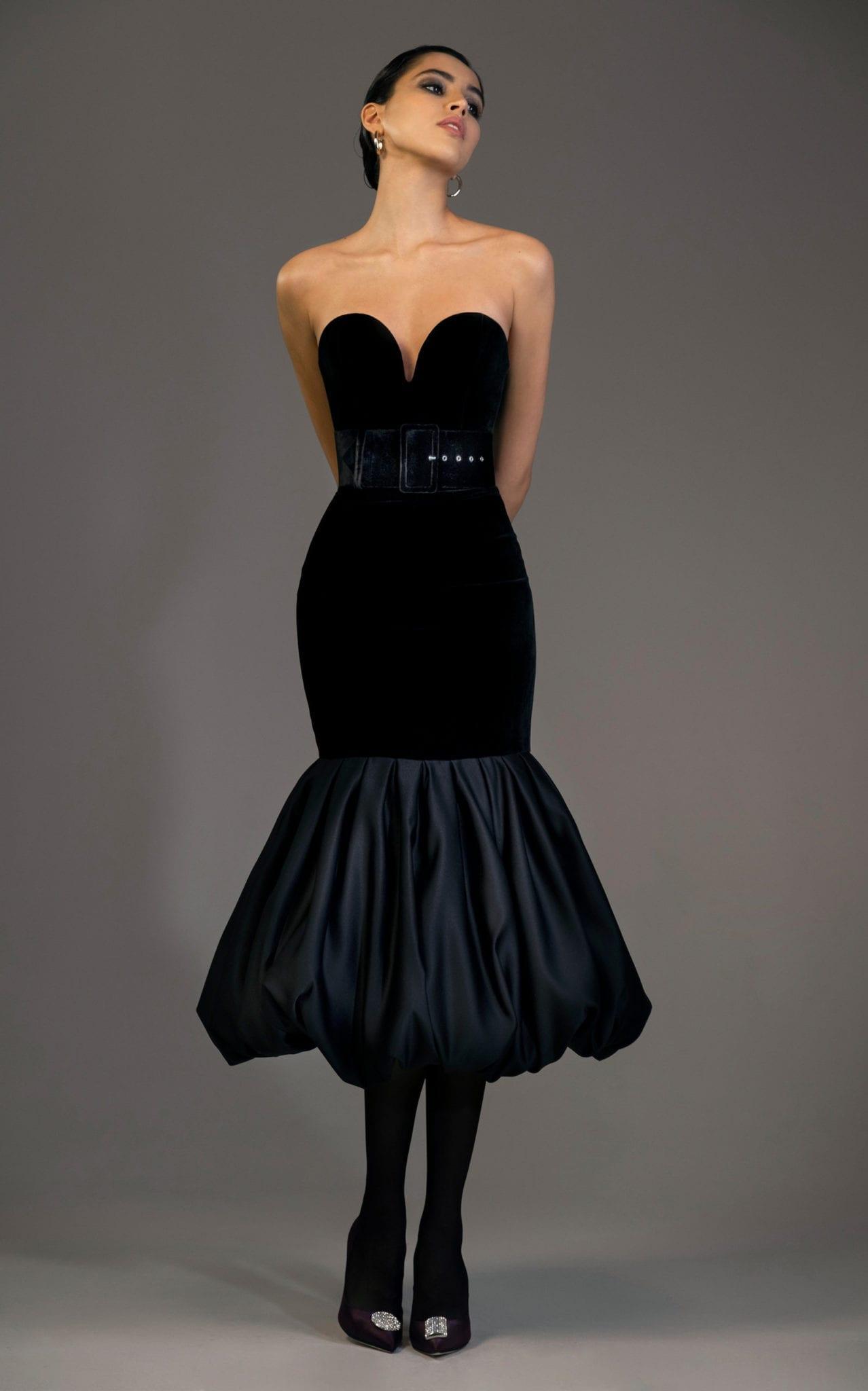 RASARIO Velvet And Satin Flared Midi Black Dress
