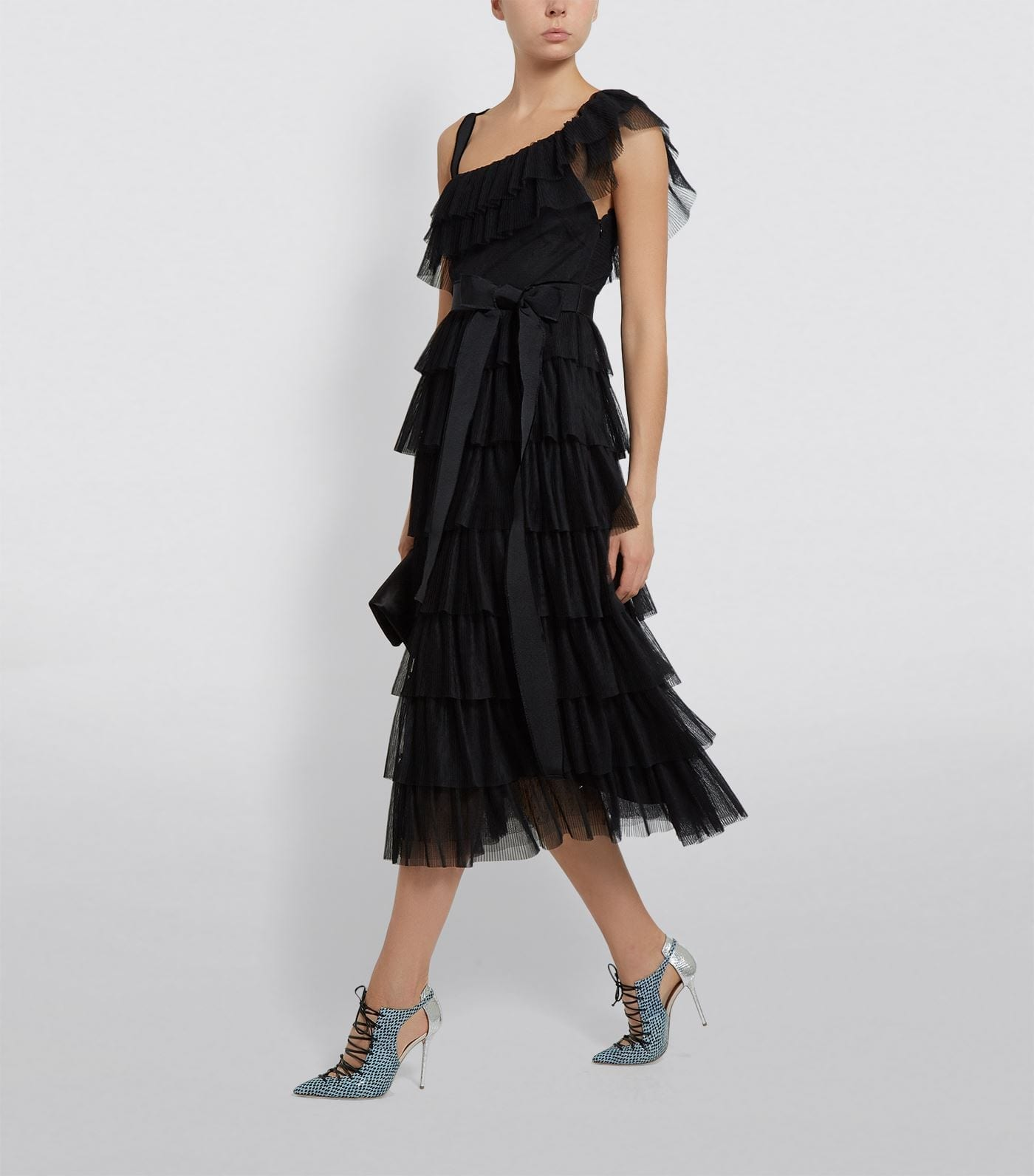 RED VALENTINO Asymmetric Tiered Ruffle Dress