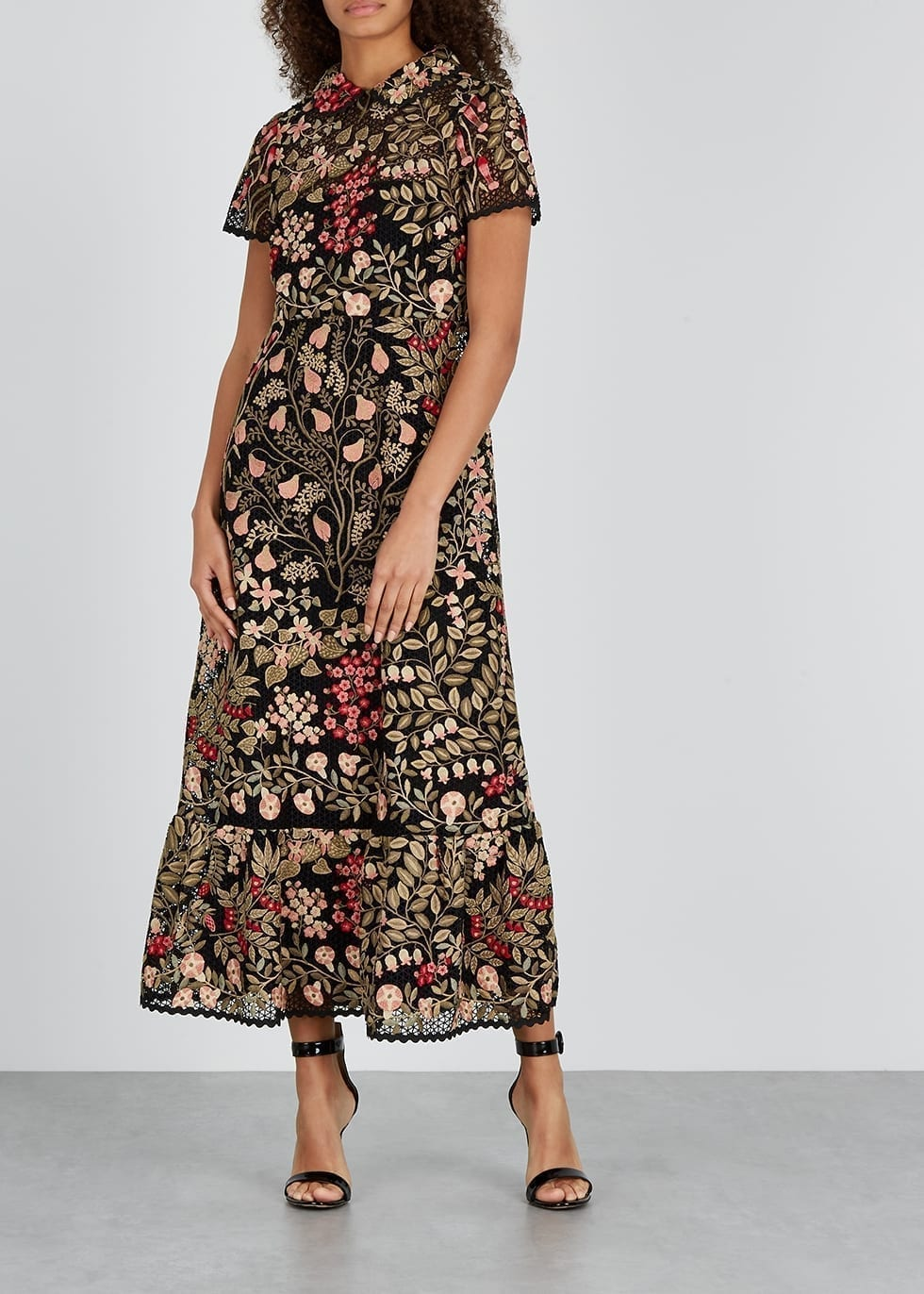 RED VALENTINO Black Floral-embroidered Macramé Dress