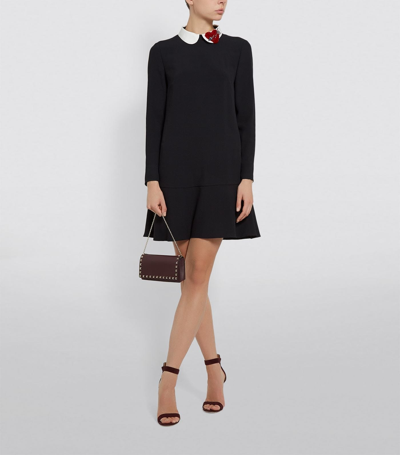 RED VALENTINO Crepe Embellished Collar Dress