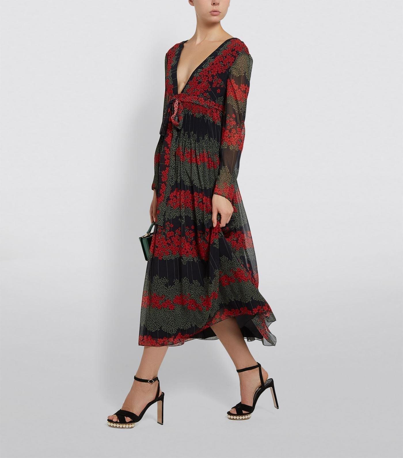 RED VALENTINO Tulle Poppy Midi Dress