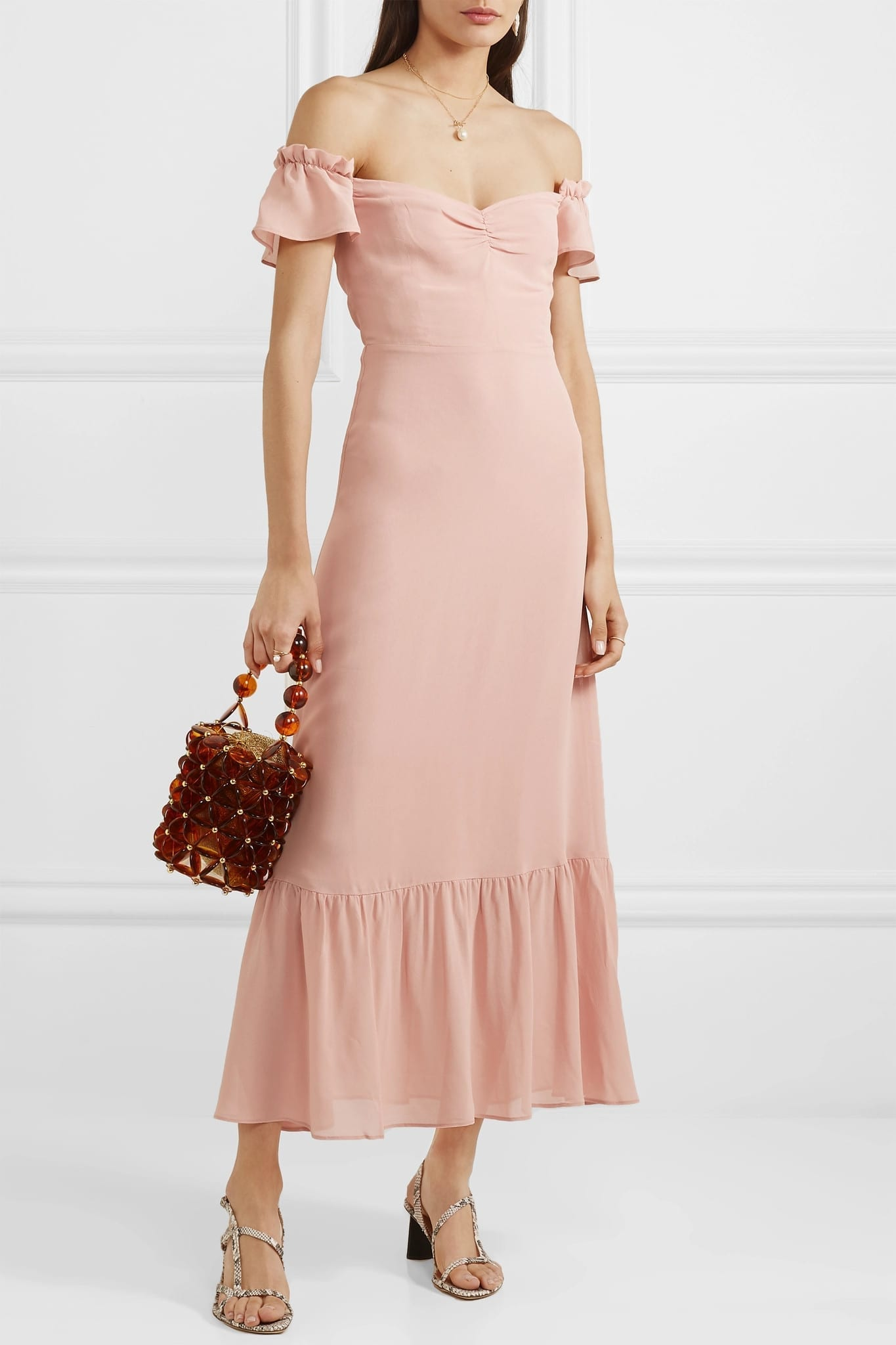 REFORMATION Butterfly Off-the-shoulder Tiered Crepe Blush Dress