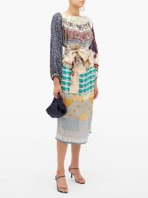 RIANNA + NINA Vintage Patchwork Silk Blue Dress
