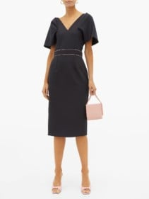 ROKSANDA Tiana Puff-sleeve Crepe Midi Navy Dress