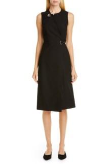 ROSETTA GETTY Grommet Wrap Black Dress