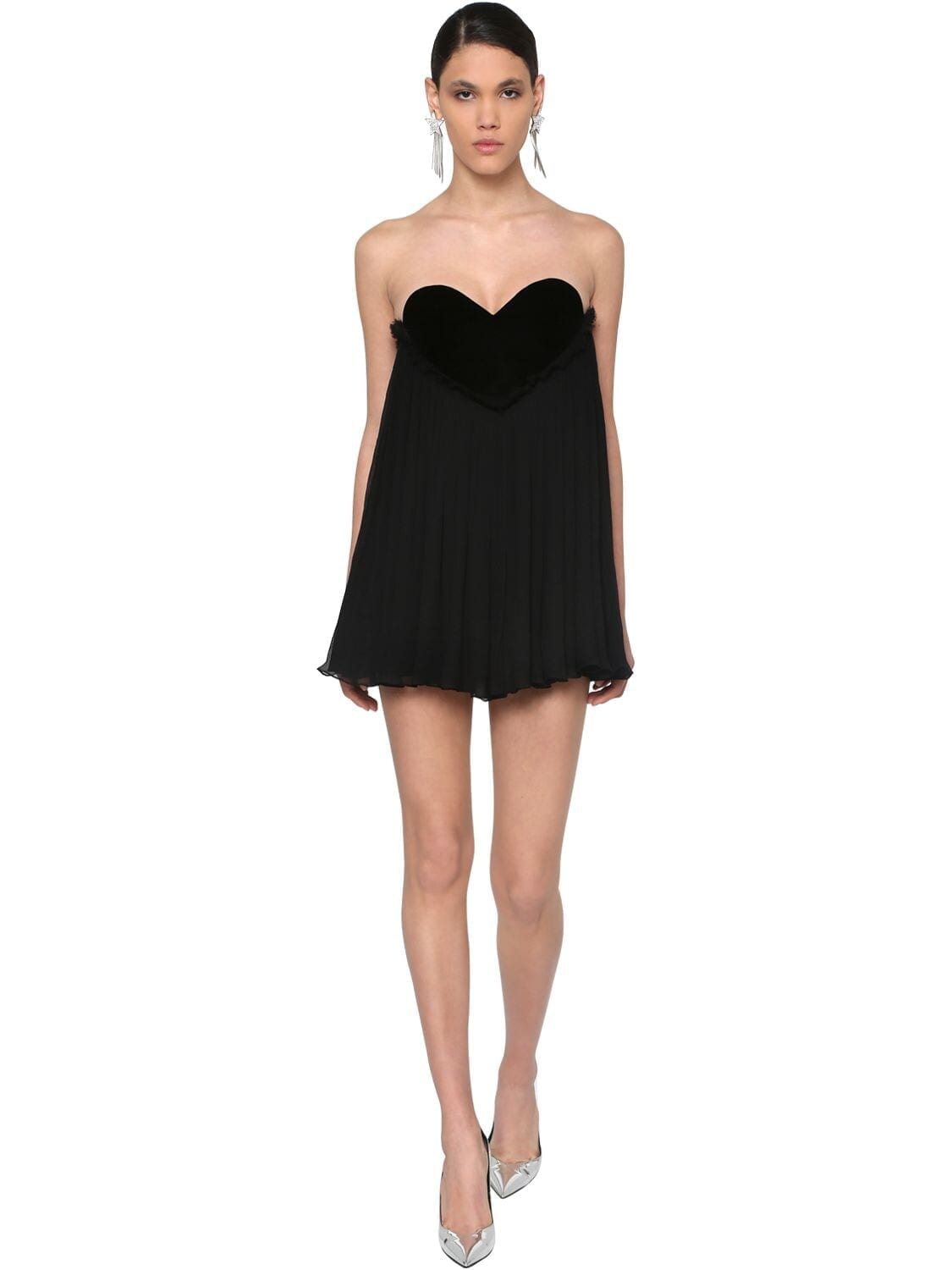 SAINT LAURENT Heart Neckline Crepe & Velvet Dress