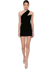 SAINT LAURENT One Shoulder Velvet Mini Dress