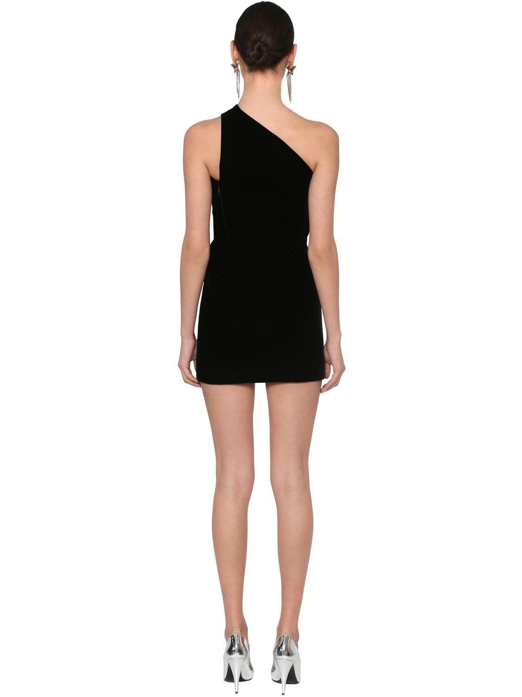 SAINT LAURENT One Shoulder Velvet Mini Dress