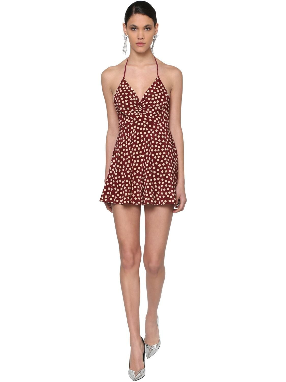 SAINT LAURENT Polka Dots Crepe De Chine Mini Dress