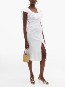 SALONI Ella Ruffled Cotton Broderie Anglaise Midi White Dress