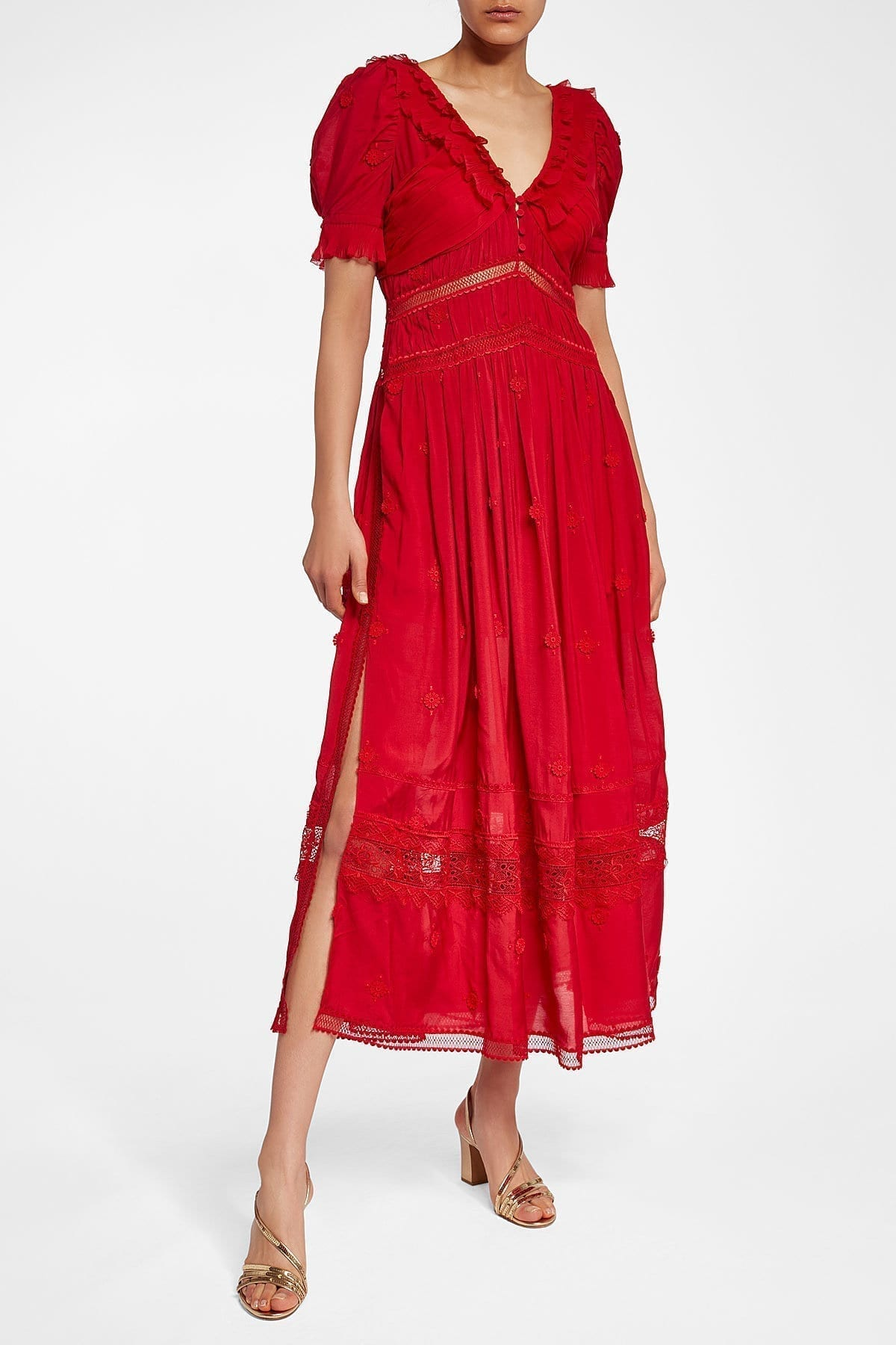 SELF-PORTRAIT 3D Plumetis Lace Midi Red Dress