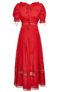 SELF-PORTRAIT 3D Plumetis Lace Midi Red Dress