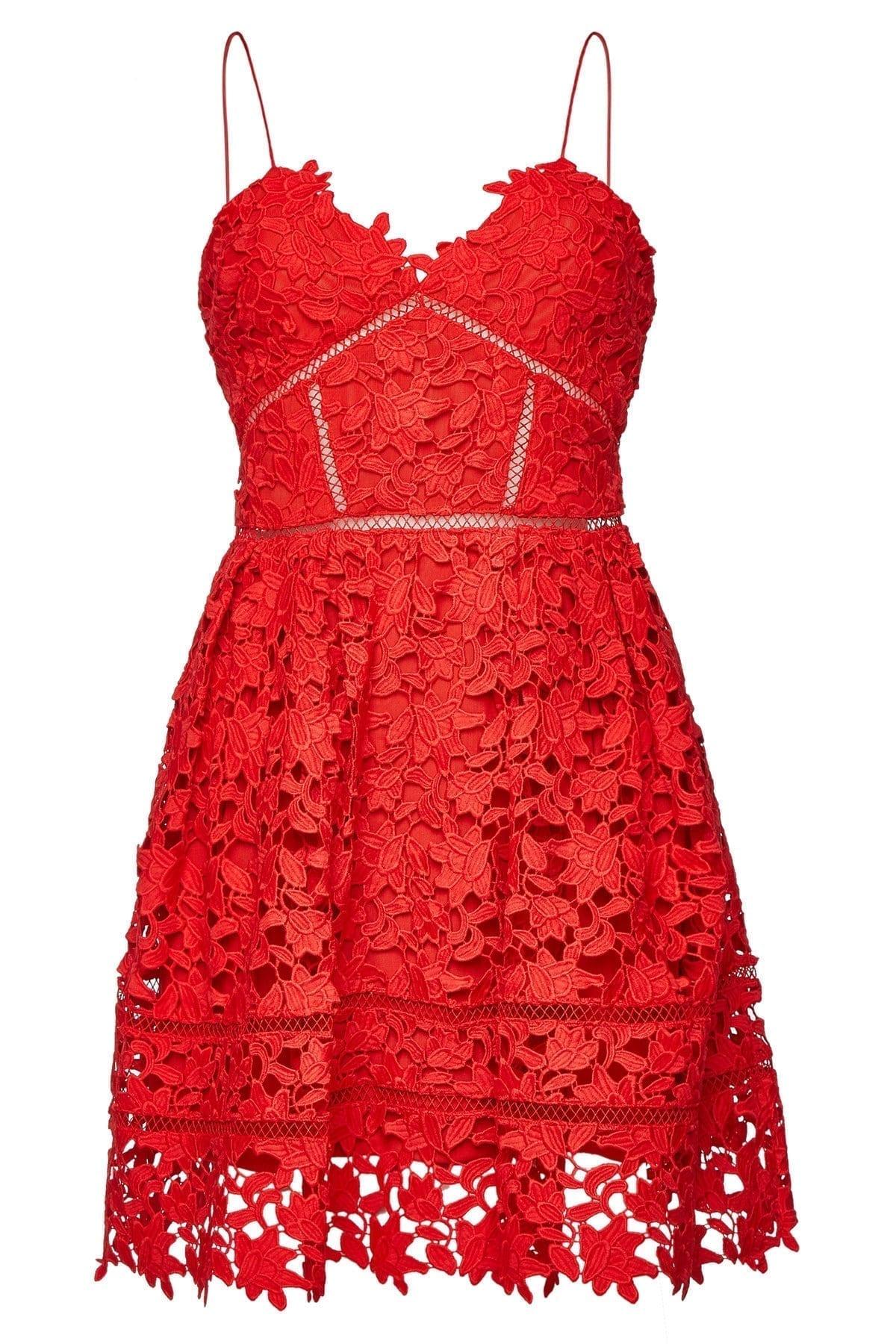 SELF-PORTRAIT Azaelea Lace Mini Red Dress