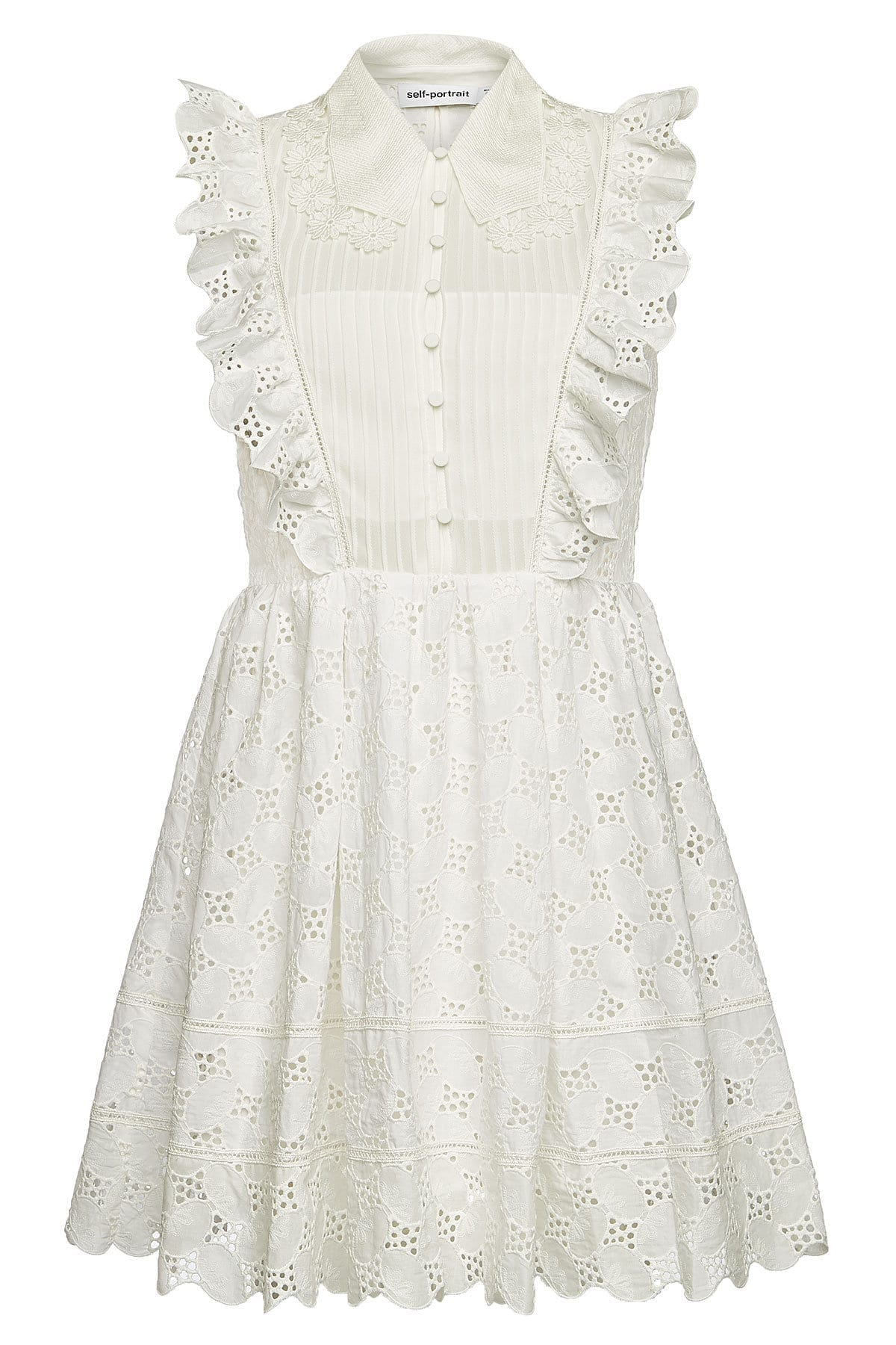 SELF-PORTRAIT Broderie Anglaise Cotton Mini White Dress