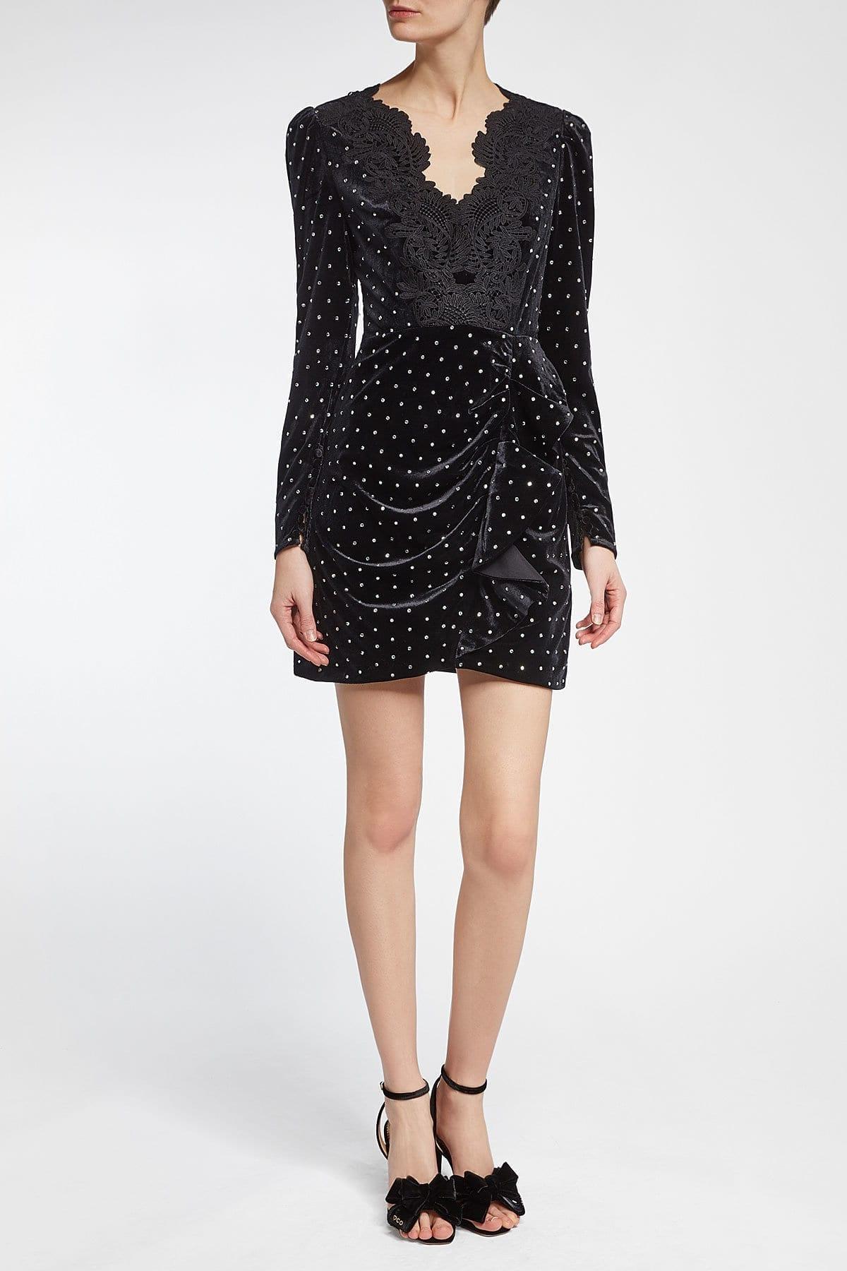 SELF-PORTRAIT Crystals and Lace Velvet Mini Black Dress