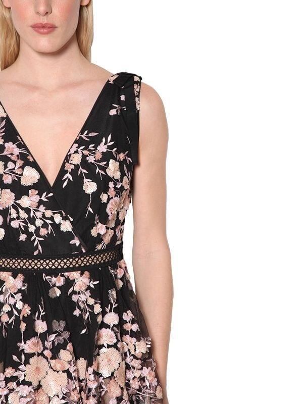 SELF-PORTRAIT Embroidered Tulle Midi Dress