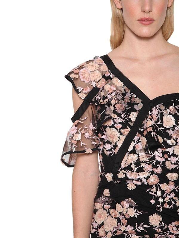 SELF-PORTRAIT Embroidered Tulle Mini Dress