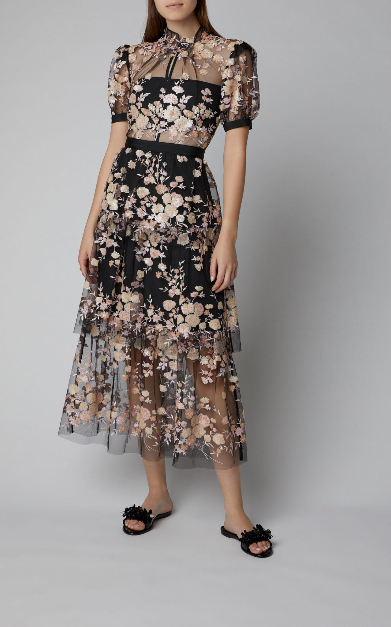 SELF PORTRAIT Floral-Embroidered Mesh Midi Dress