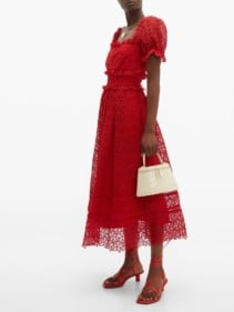 SELF-PORTRAIT Hibiscus Flower Guipure-lace Midi Red Dress