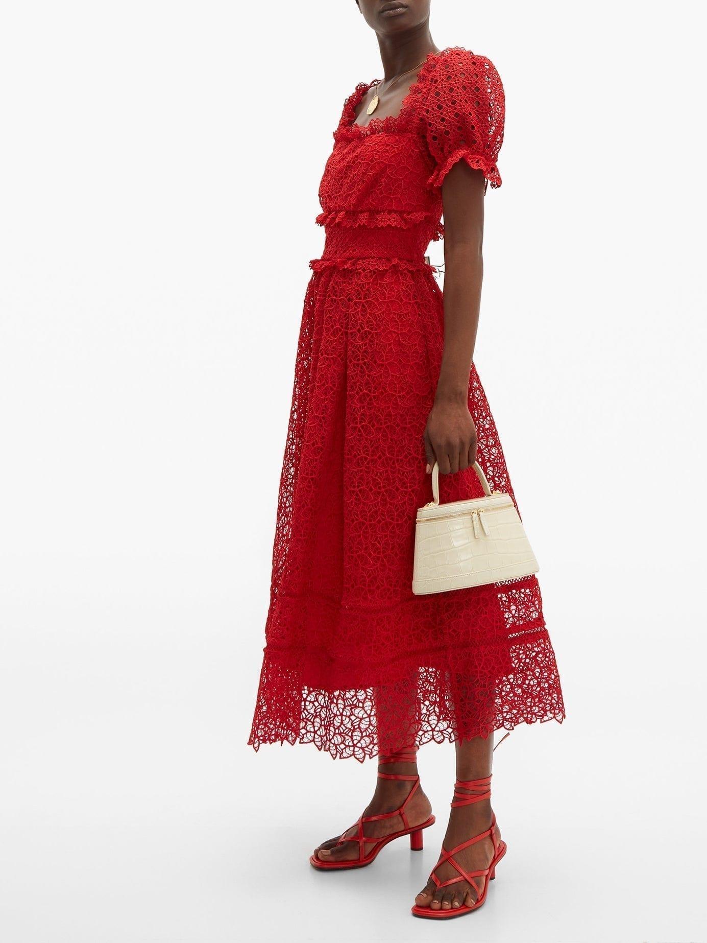 SELF-PORTRAIT Hibiscus Flower Guipure-lace Midi Red Dress