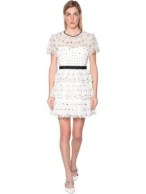SELF-PORTRAIT Hibiscus Guipure Floral Lace Mini Dress