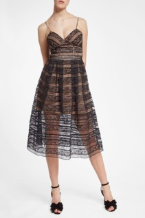 SELF-PORTRAIT Lace Midi Black Dress