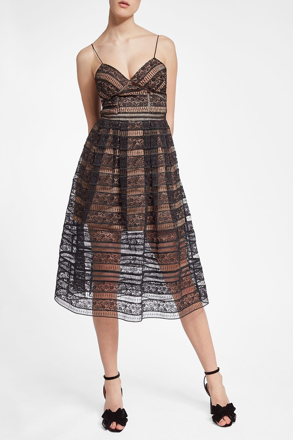 SELF-PORTRAIT Lace Midi Black Dress