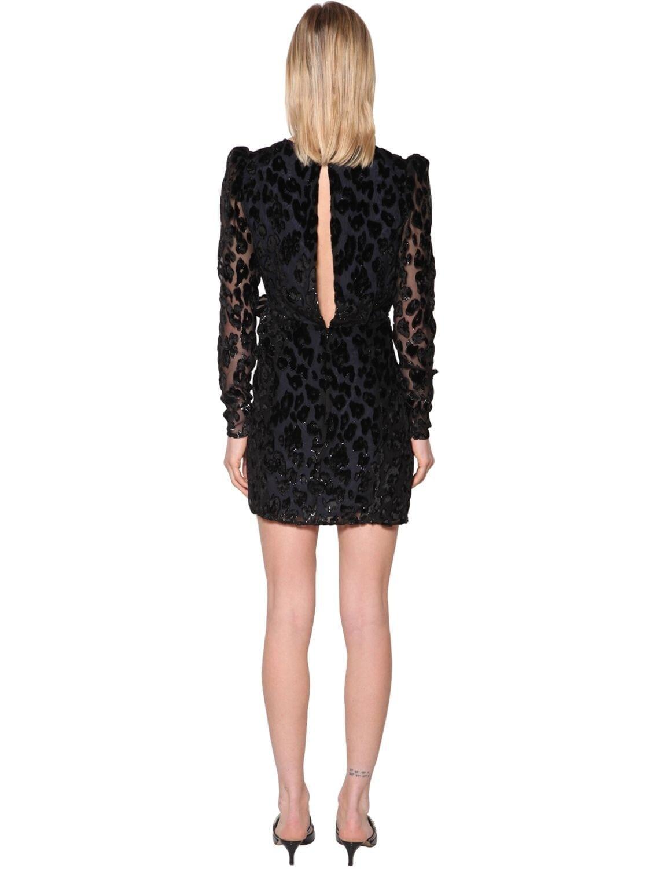 SELF-PORTRAIT Leopard Devoré Mini Dress