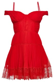 SELF-PORTRAIT Off-Shoulder Lace Chiffon Mini Red Dress