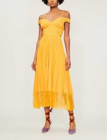 SELF-PORTRAIT Off-the-shoulder Lace-trimmed Pleated Chiffon Midi Orange Dress