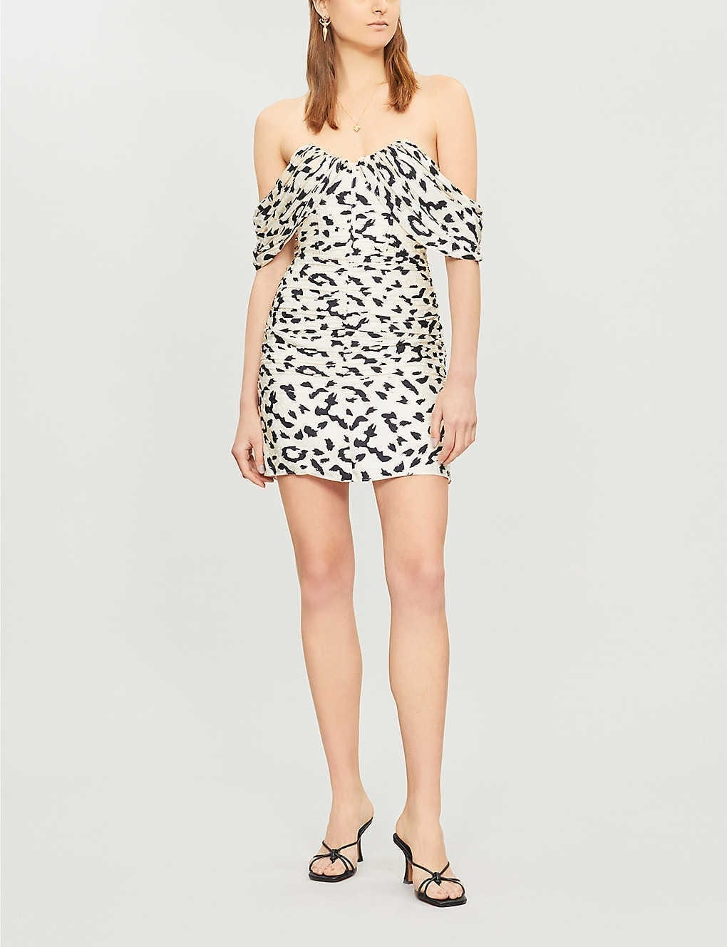 SELF-PORTRAIT Off-the-shoulder Leopard-print Pleated Crepe Mini Cream Dress