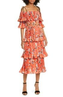 SELF-PORTRAIT Pleated Tiered Midi Red Dress