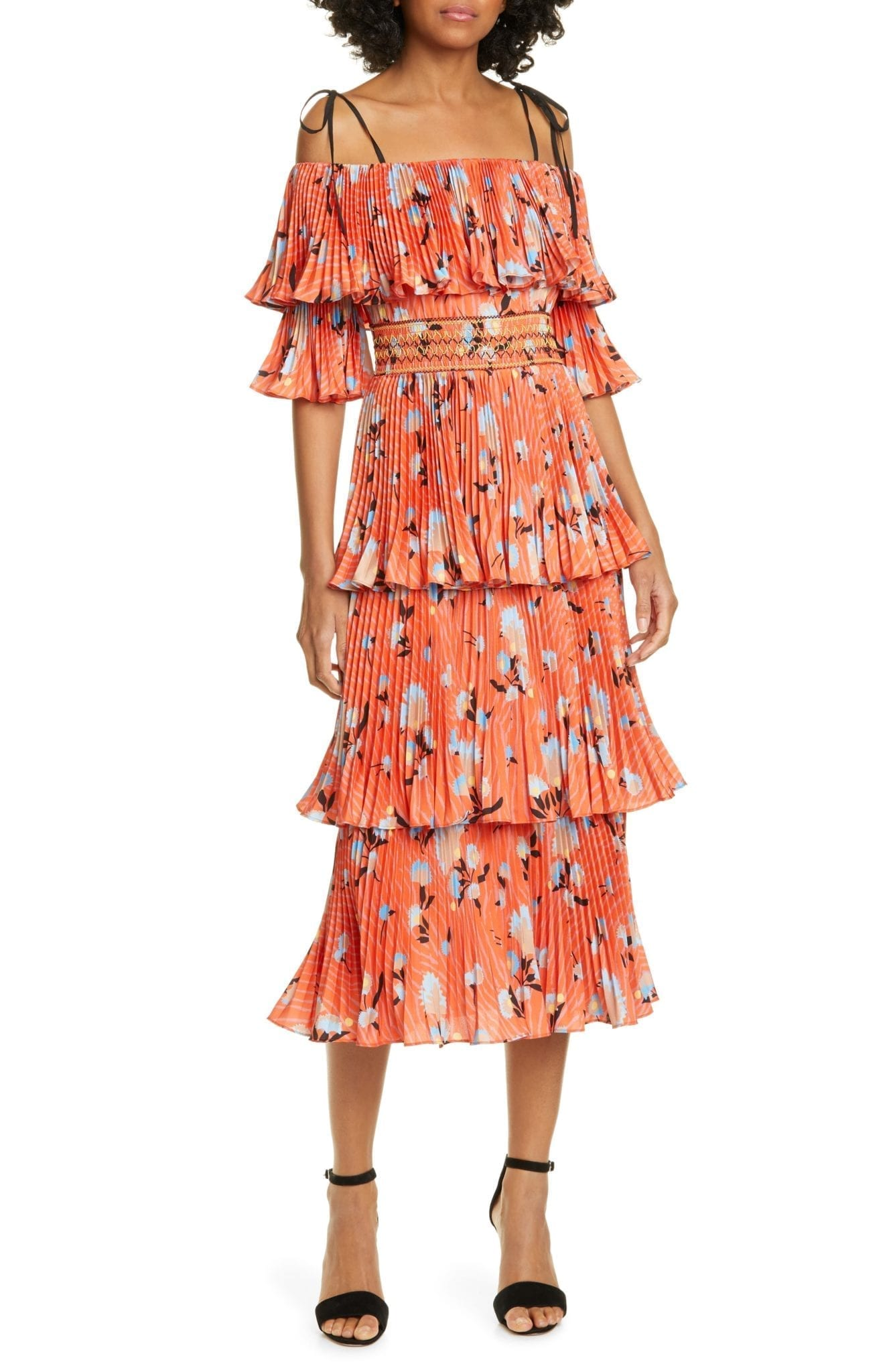 SELF-PORTRAIT Pleated Tiered Midi Red Dress
