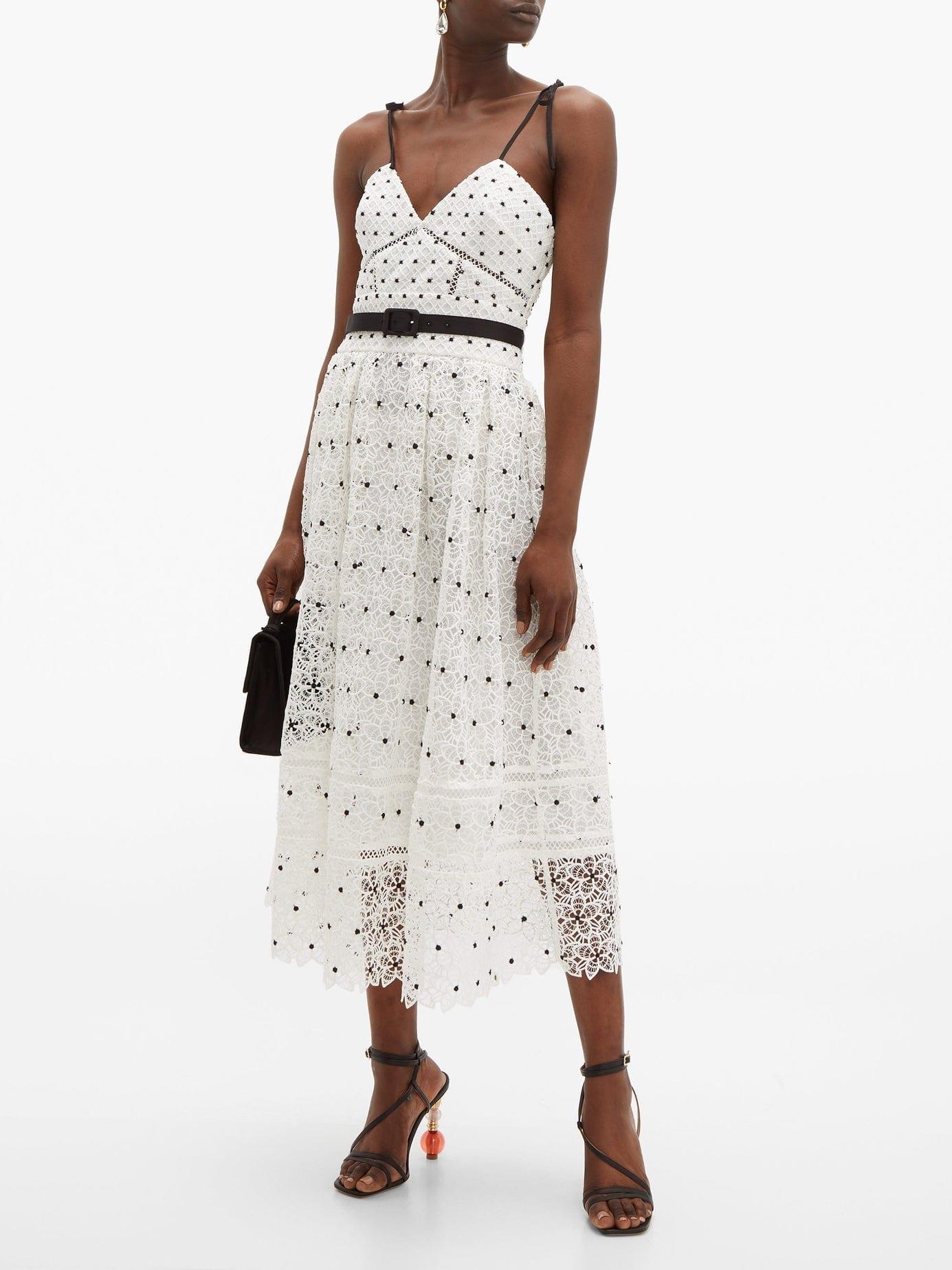 SELF-PORTRAIT Polka-dot & Floral Lace Midi White Dress