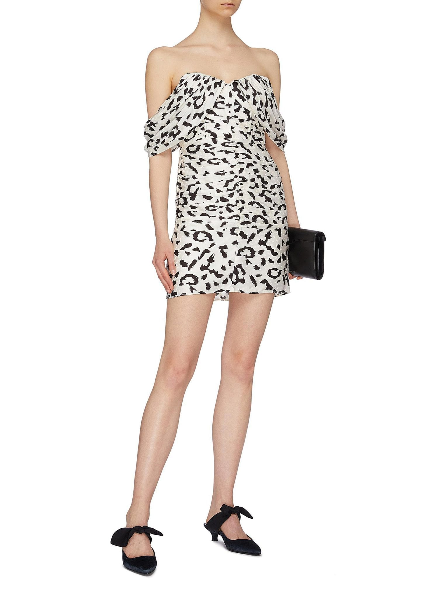 SELF-PORTRAIT Ruched Leopard Print Off-shoulder Mini Dress