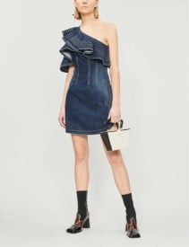 SELF PORTRAIT Self Portrait X Lee One-shoulder Ruffled Faded Denim Blue Dress