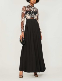 SELF-PORTRAIT Sequinned Floral Mesh And Jersey Maxi Black Dress