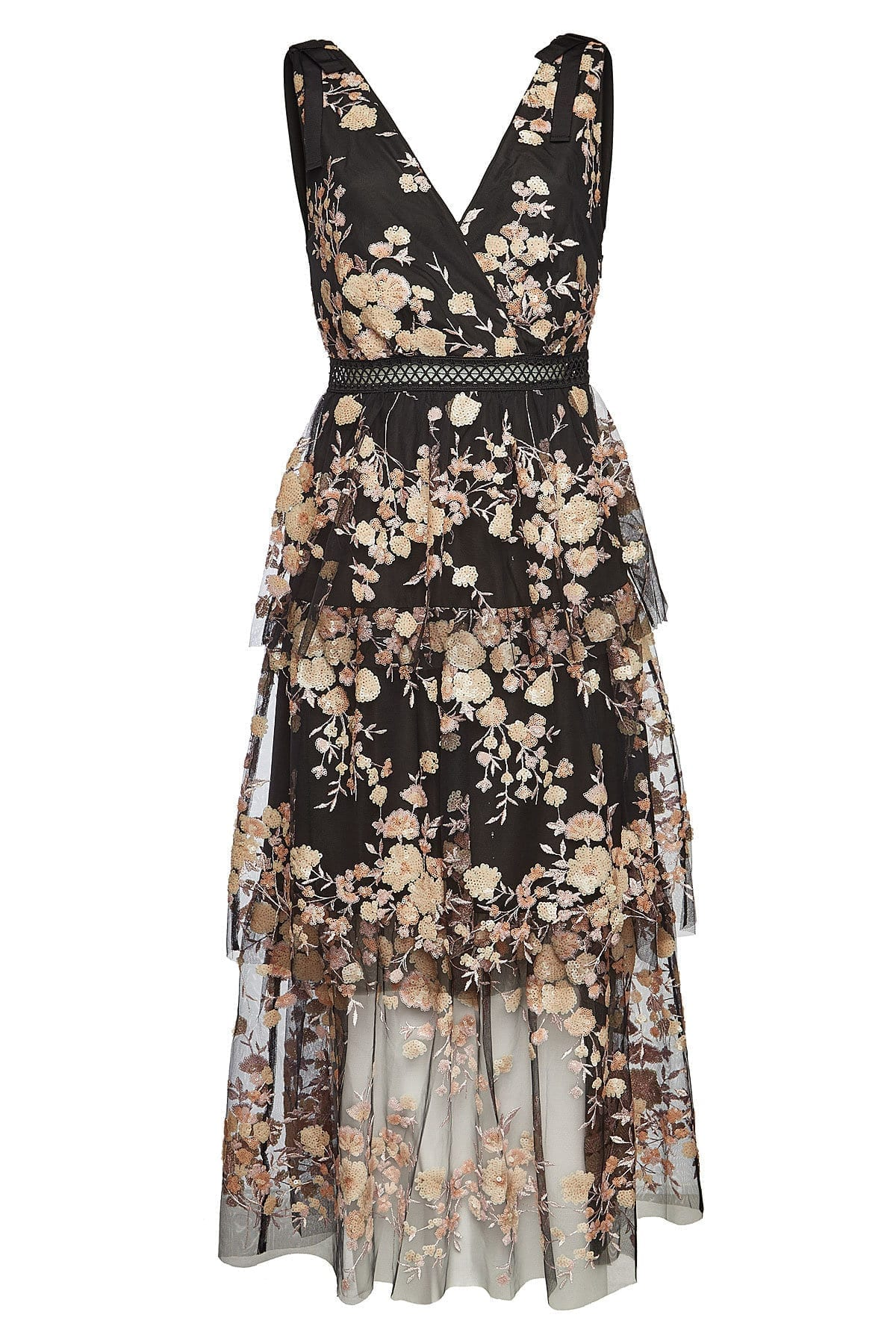 SELF-PORTRAIT Sequins and Mesh Sleeveless Midi Black Dress