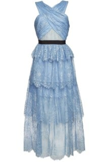 SELF-PORTRAIT Sleeveless Lace Maxi Blue Dress