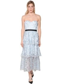 SELF-PORTRAIT Strapless Techno Floral Midi Dress
