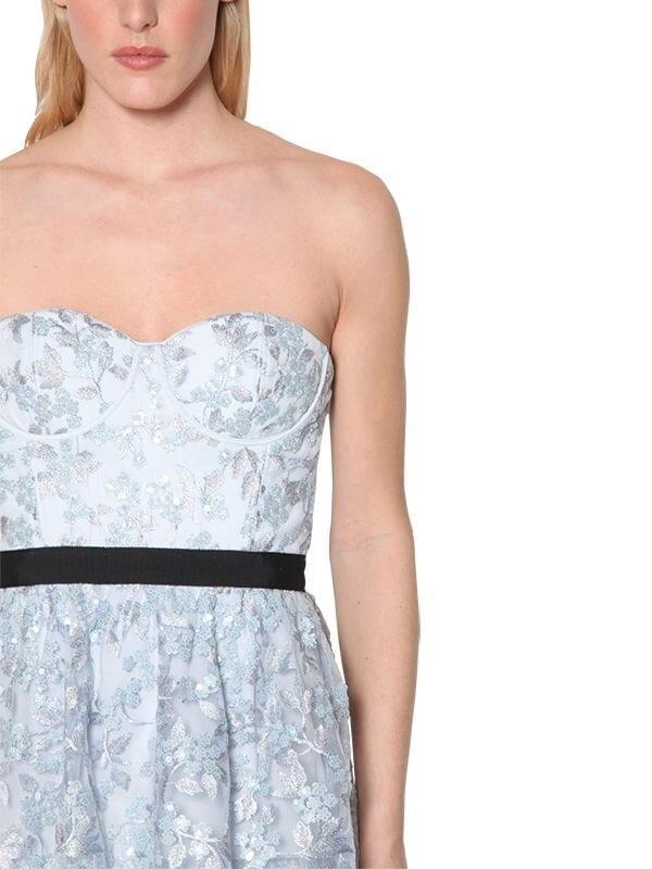 SELF-PORTRAIT Strapless Techno Floral Midi Dress