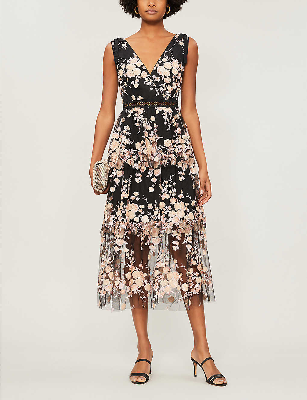 SELF-PORTRAIT Tiered Sequinned Floral Mesh Midi Black Dress