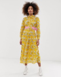 SISTER JANE Belted Pleated Skirt Midi Yellow Dress
