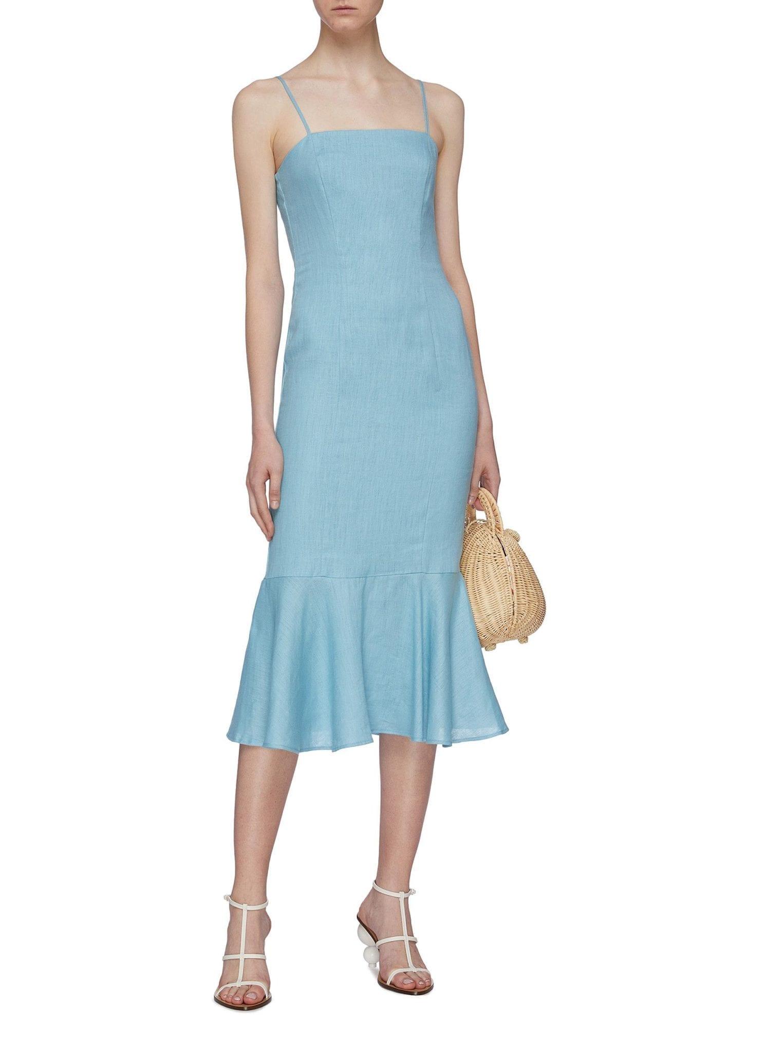 STAUD 'Lychee' Linen Peplum Dress