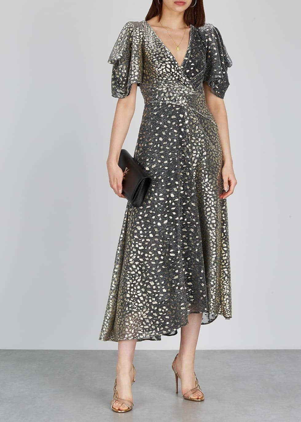 TALBOT RUNHOF Solfeggio Grey Foil-Print Midi Dress