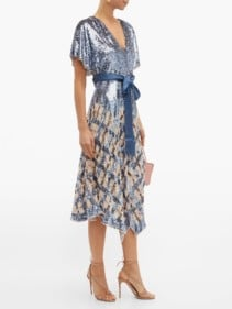 TEMPERLEY LONDON Akiko Sequinned Check Tulle Midi Blue Dress